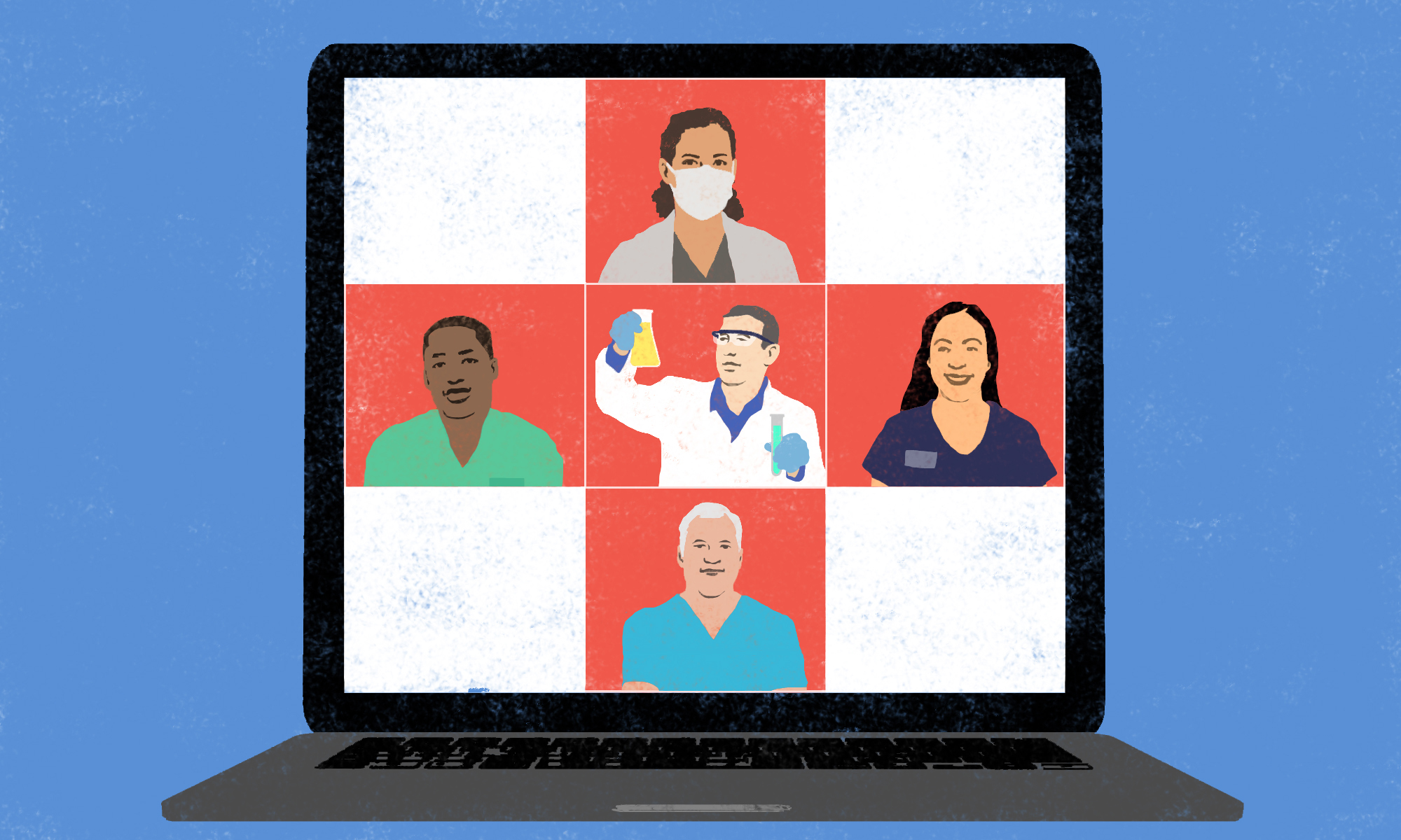 Illustration of five learners arranged on a red cross on a computer screen, including one with a mask, one holding a beaker and three in scrubs.