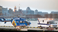 photo of medical helicopter and ambulance