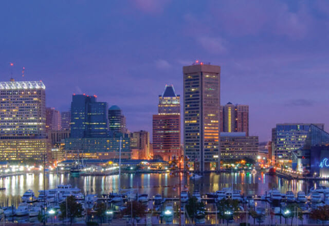 Baltimore city night skyline
