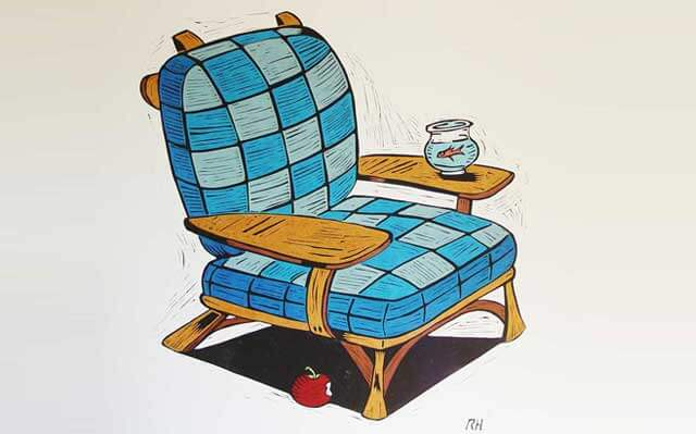 An image of a blue checkered chair, inspired by Dr. Seuss