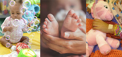 left: a baby blowing bubbles; middle: a mother holding her baby's feet; right: a baby holding her stuffed giraffe