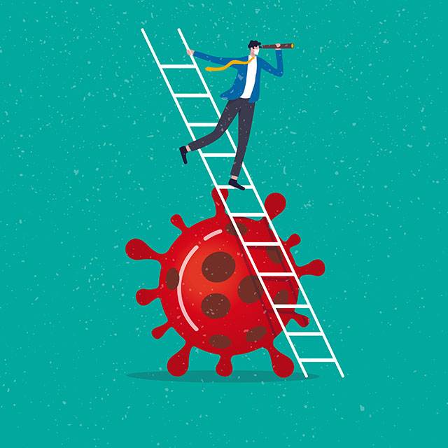 graphic of a coronavirus, and a man standing on a ladder propped against it, looking into the future