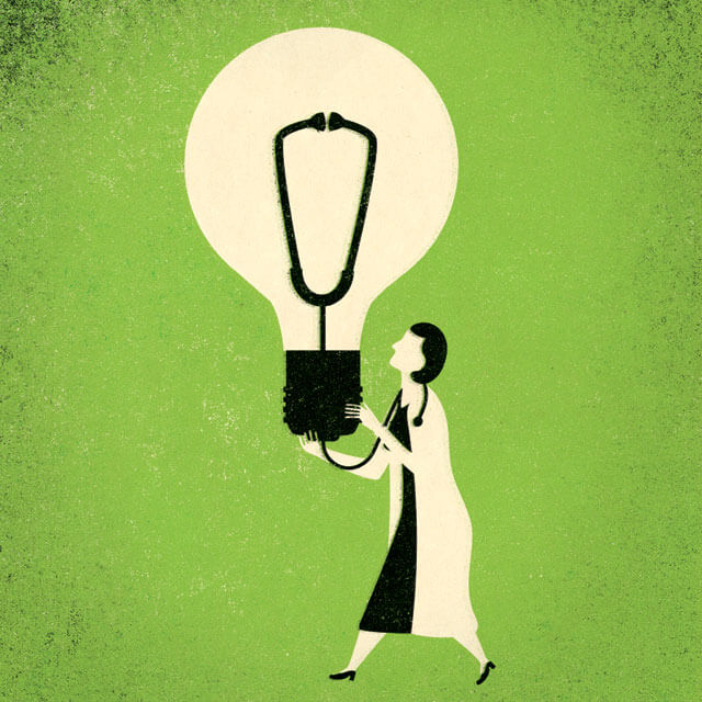 doctor with light bulb illustration