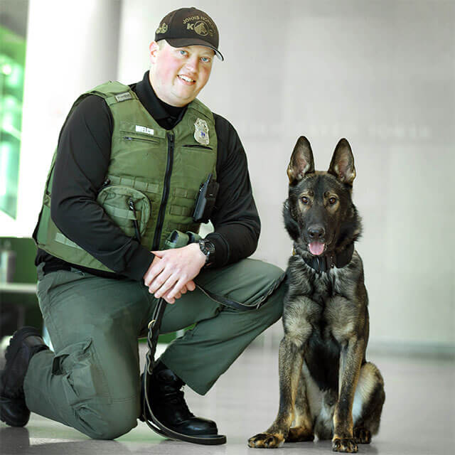 German shepherd Bax and his handler Andrew Welch