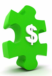 Green puzzle dollar