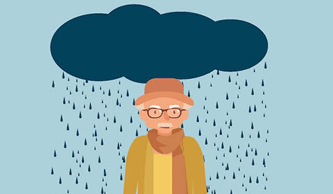Rain cloud following an older man.