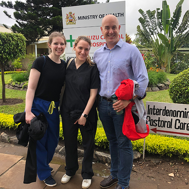 Global Program Director Dr. Eric McCollum with Johns Hopkins Pediatric residents Drs. Brittany Hunter and Chiara Bertolaso in Malawi