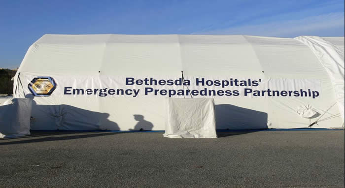 Inflatable tent used by the Bethesda Hospitals' Emergency Preparedness Partnership.