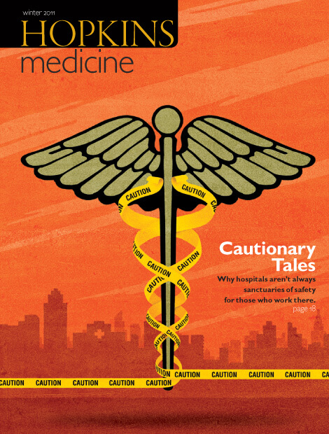 Illustration of caduceus with Caution tape instead of the snake