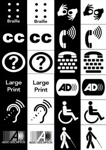 Graphic containing symbols/logos for Braille, Sign Language, Closed Captioning, Large Print, Assistive Devices, Handicap symbol, Audio Description, Person using a white cane or stick to walk.