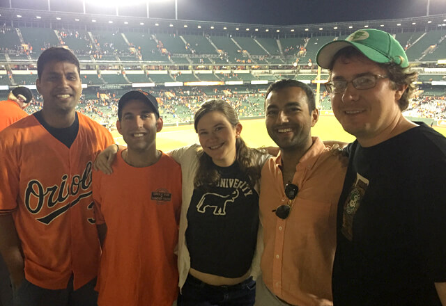 Residents posing at an Orioles game