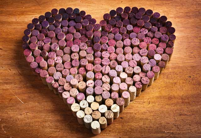 wine corks formed into a heart