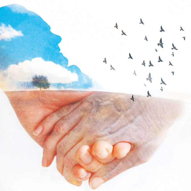 illustration of a person sky birds and hands holding