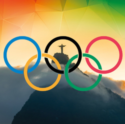 the Olympic rings superimposed over Christ the Redeemer