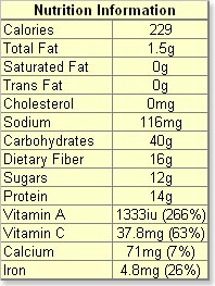Nutritional Information Lentil Chili Soup