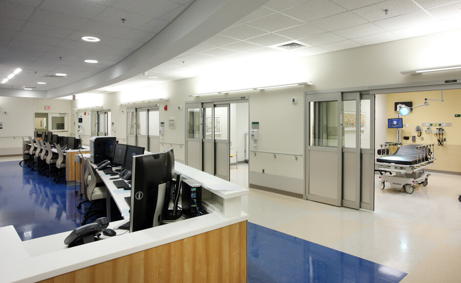 Work areas for doctors, nurses and other clinical staff are designed to provide quick access to patients and the latest medical technologies.