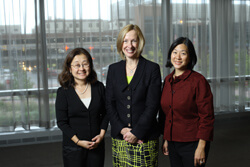 Jean Kim (left) and Sandra Lin (right) with Carol Bradford, head of the University of Michigan's Department of Otolaryngology–Head and Neck Surgery, who delivered the inaugural Iee Ching Wu Anderson Memorial Lecture last October.