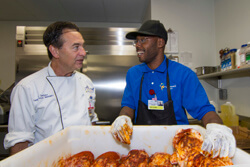 All Children's intern DayJuan Davis chats with All Children's cafeteria and catering manager Joe Santoro.