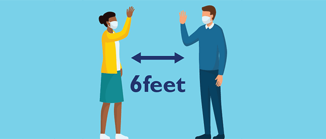 Illustrated hospital guests standing six feet apart