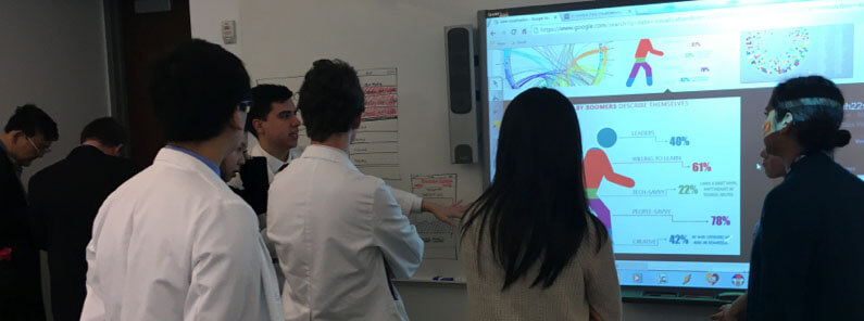 Clinicians and developers collaborating using design thinking methodology