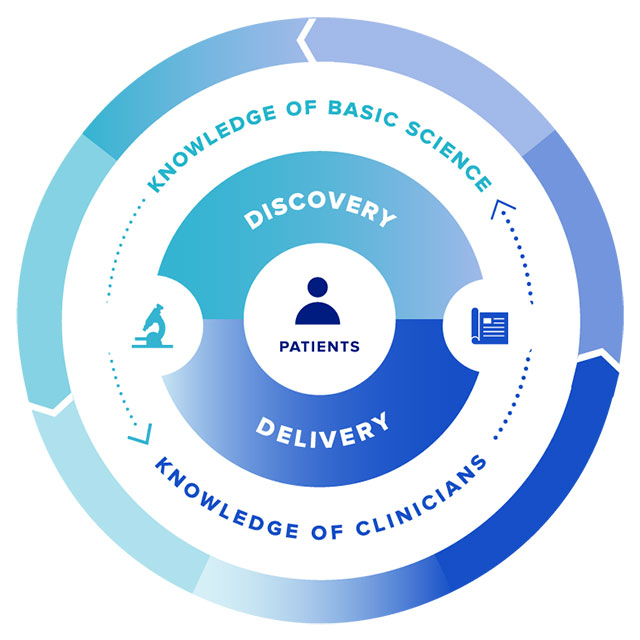 image shows that basic science and clinician data work together to improve patient care and spur discoveries.