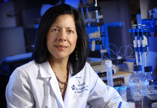 Dr. Elizabeth Jaffee in a laboratory