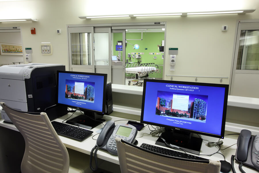 Emergency work stations provide excellent view of patient rooms for monitoring and quick access.