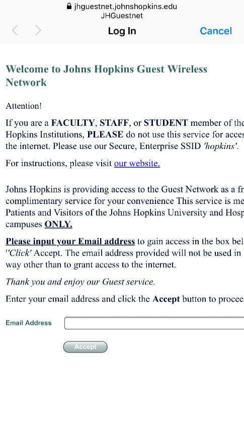 Wireless Internet The Johns Hopkins Hospital