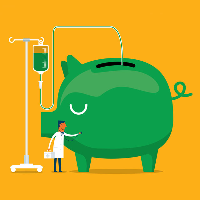 illustrated piggy bank giving blood