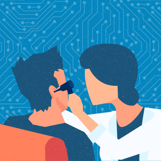 An illustration shows a person using an otoscope to look into an ear.