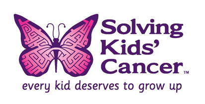 Solving Kids' Cancer logo of a butterfly with a maze on its wings