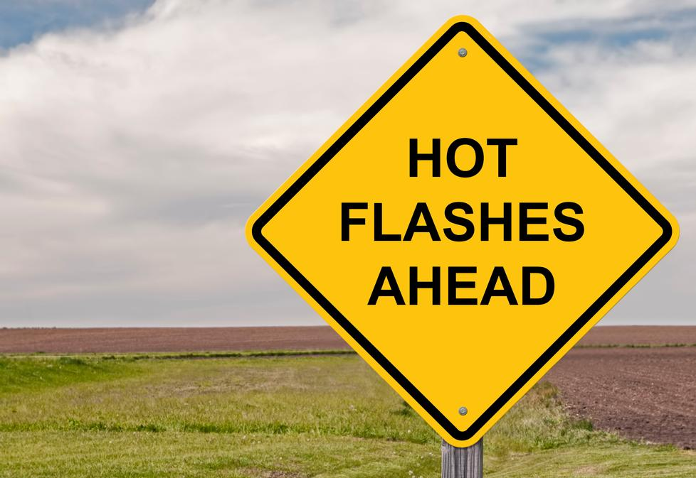 road sign that says Hot Flashes Ahead