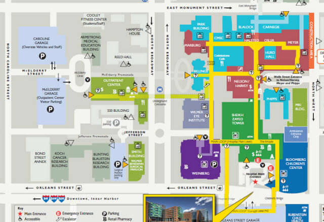 map of The Johns Hopkins Hospital
