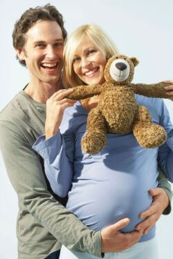 Couple with stuffed animal