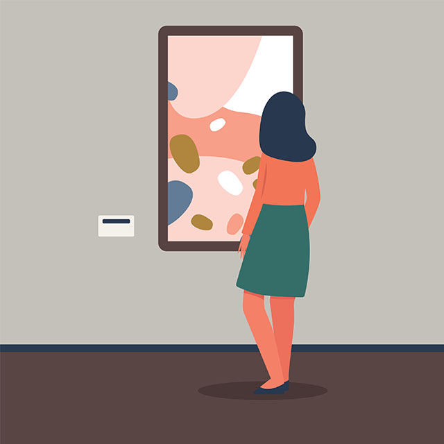 illustration of a woman looking at a painting