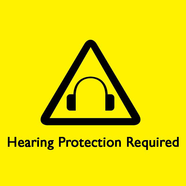 Hearing protection required warning.