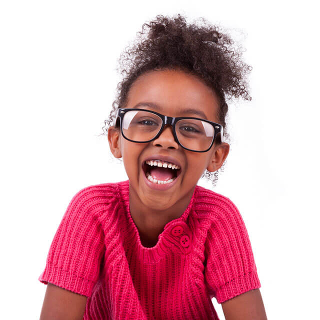 Young girl with glasses.