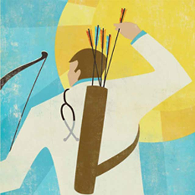 illustration of doctor pulling arrow from quiver
