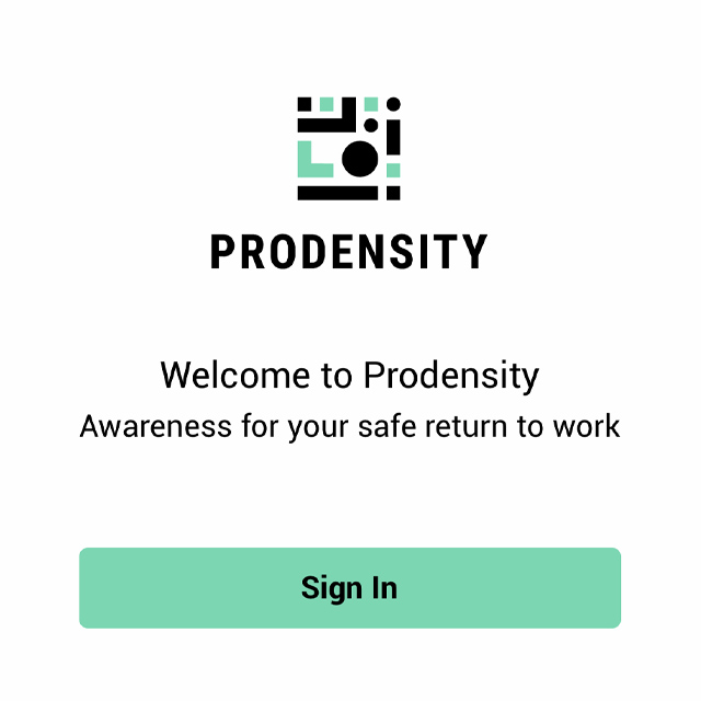 Image shows part of the sign-in screen on the Prodensity app.