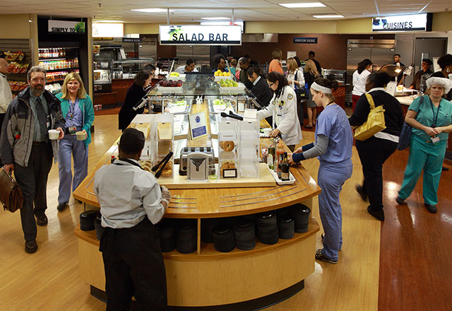 guests and staff buying food in the main cafeteria in The Johns Hopkins Hospital