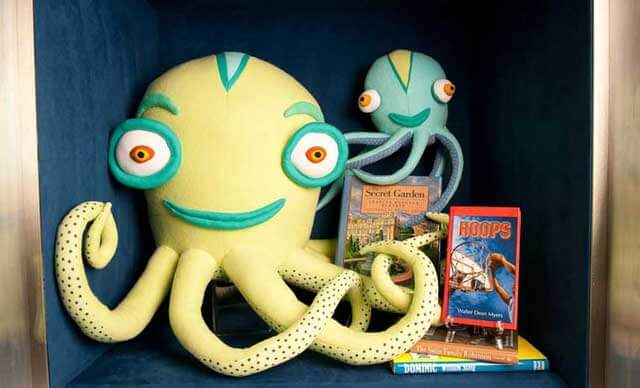 A big and little octopus with books, located in the 10th floor lobby of the Bloomberg Children's Center
