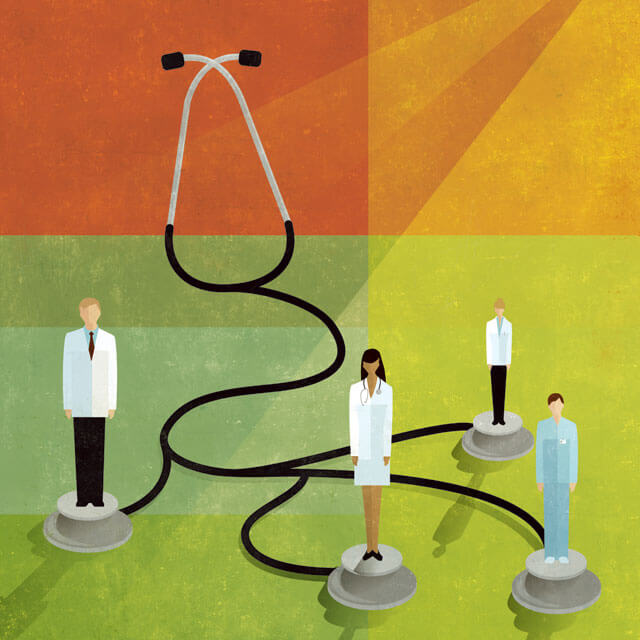 illustration of physicians standing on giant stethoscope ends