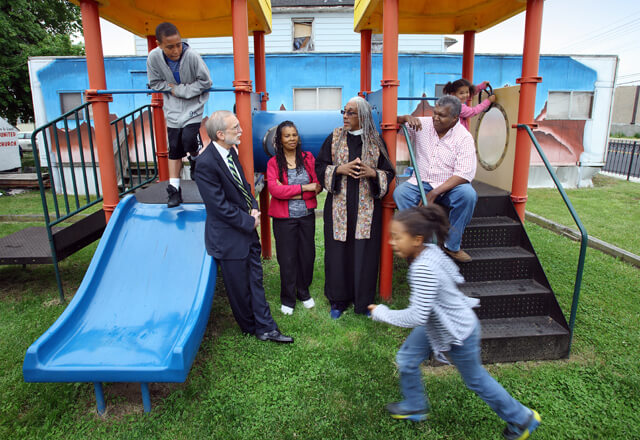 community members on playground