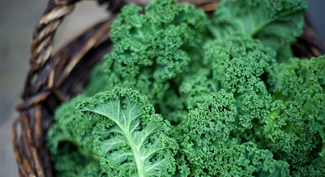 Kale bushels in a wicker basket