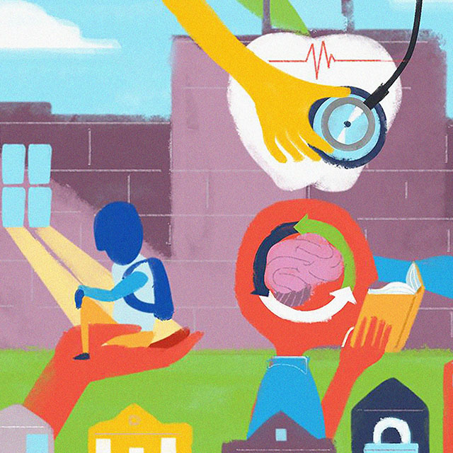 A conceptual somewhat abstract illustration shows colorful hands helping schools in community.