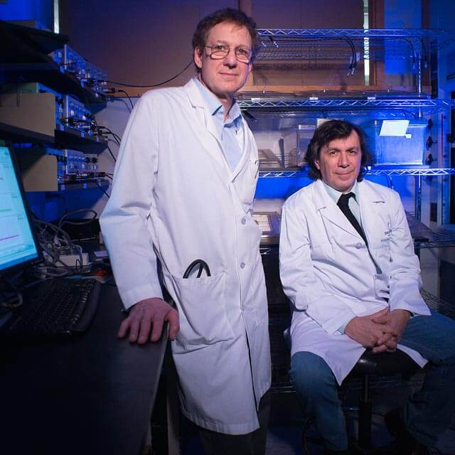 In the lab: David Kass, left, and Nazareno Paolocci