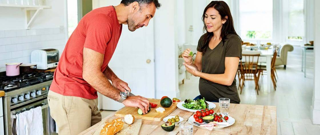 Couple preparing a healthy meal