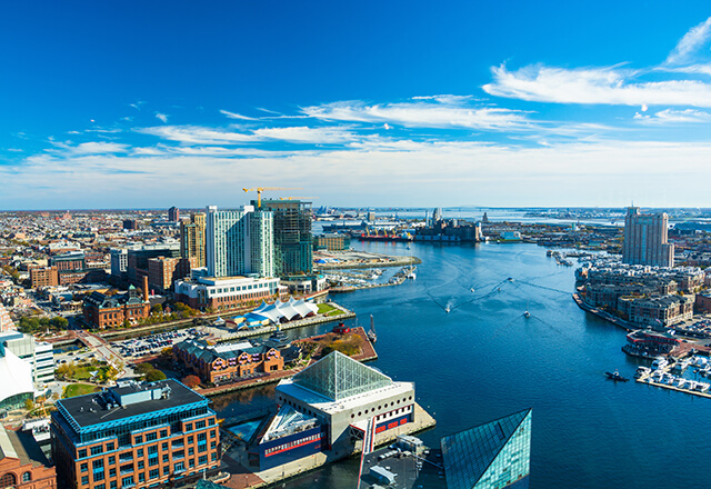 An aerial view of the Baltimore harbor.