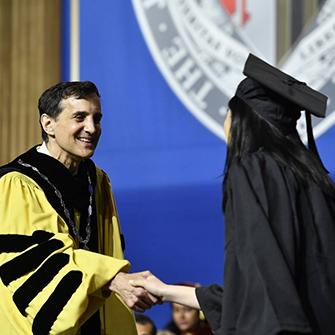 A student graduates.