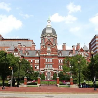 A view of the Billings building at Johns Hopkins East Baltimore campus.